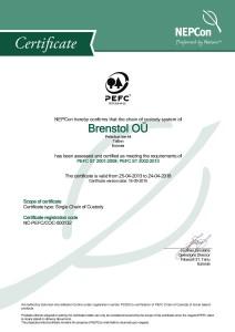 Brenstol OÜ PEFC COC Certificate 2015_Oldal_1