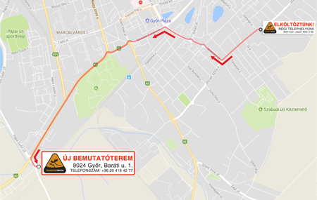 Az új bemutatótermünk, telephelyünk Győrben (9024 Győr, Baráti u. 1.) az új Möbelix bútoráruházzal szemben, Győrújbarát felé a vasúti átjáró előtt található!